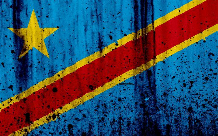 Download wallpapers Democratic Republic of the Congo flag, 4k, grunge, flag of Democratic Republic of Congo, Africa, Democratic Republic of the Congo, national symbols, DRC national flag