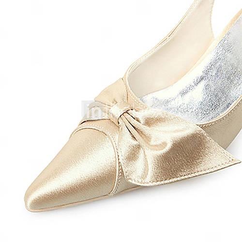 qualidade superior de cetim superior bombas de alta saltos com sapatos bowknot casamento / sapatos de noiva (0984-R-045)