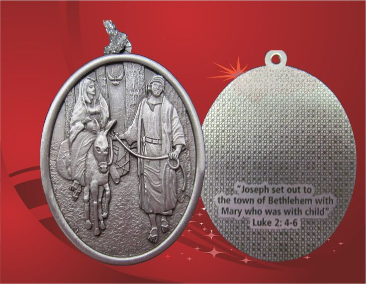 """JOSEPH & MARY WITH CHILD  Inscription on the back: """"Joseph set out to the town of Bethlehem with Mary who was with child"""" - Luke 2: 4-6"""