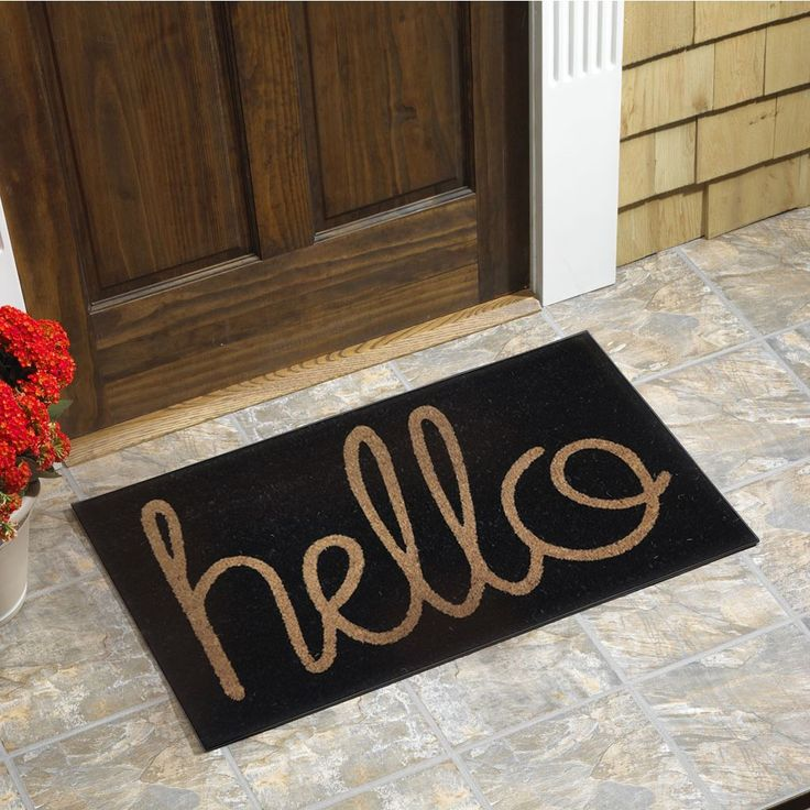 Hello Vinyl Backed Coir Door Mat Cursive Script Coir