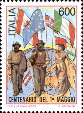 1990. Centenario del 1º maggio.  Il quarto stato, dipinto di Pellizza da Volpedo.