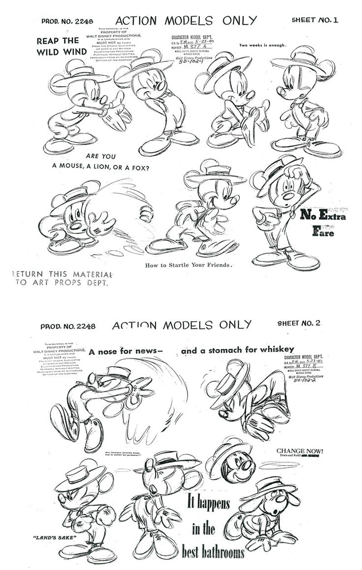 Model sheets de filmes e desenhos clássicos