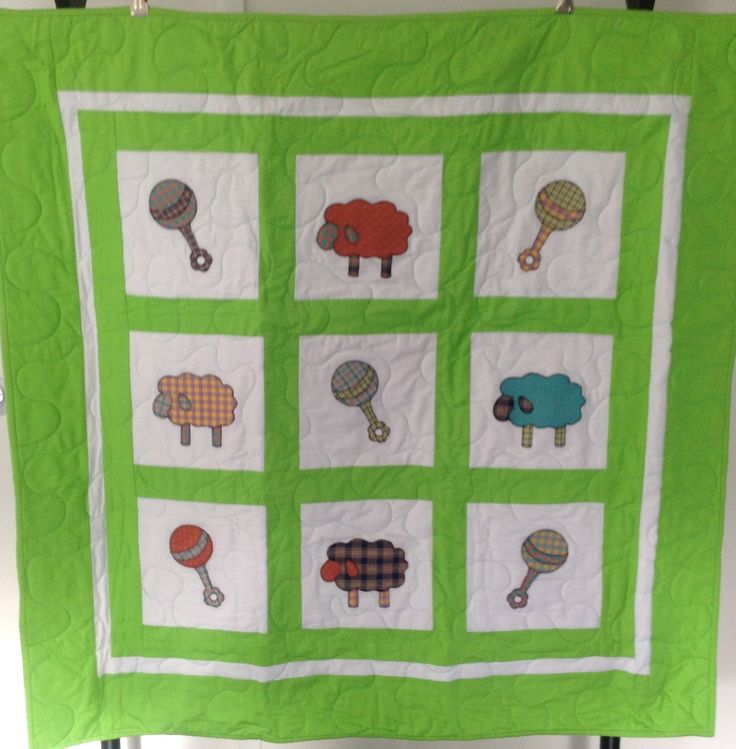 Sheep and Rattle Applique 9 – Bright Green 38 x 38 Inch Cot Size