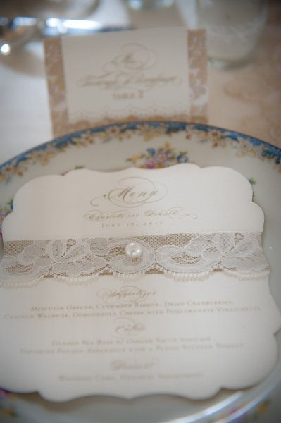 Invite with lace and burlap!
