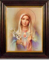 Immaculate Heart of Mary Mahogany Picture.