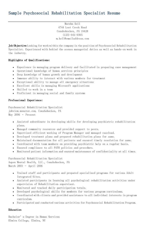 Sample psychosocial rehabilitation specialist resume