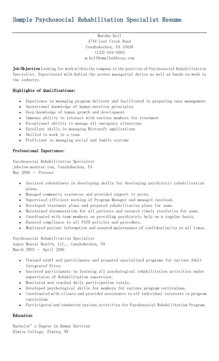 Sample Psychosocial Rehabilitation Specialist Resume