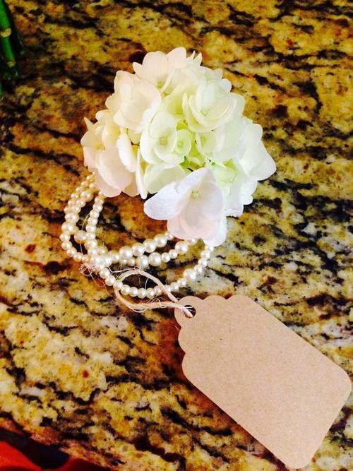 Hydrangea and Pearl Wrist Corsage
