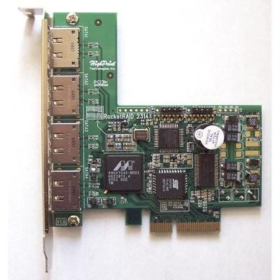 RocketRaid2314 controller card RocketRaid2314 controller card by Rocket. $265.50. SATA 2 RAID Controller Card. Support RAID 0, 1, 5, 10, & JBOD. Support 4 SATA 2 Drive, 750 GB per drive, total 3 TB. Has 4 eSATA ports, excellent external storage solution for medium and small business. This is new RAID controller cards for external storage solution using eSATA interface, and it is good for medium and small business.