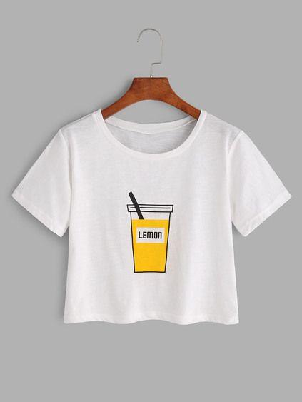 White Printed Crop T-shirt