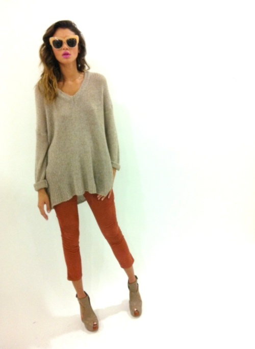 colored pants and baggy sweaters