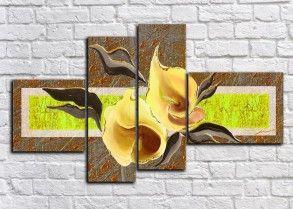 Модульная картина Цветы на зеленом(Ручная работа маслом)