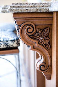 Carved wood corbel with acorn - Blue Garnet Design, bluegarnetdesign.com