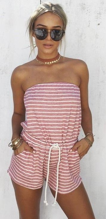 Stripe Jersey Playsuit                                                                             Source