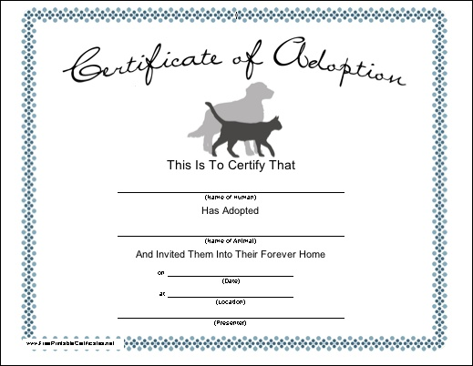 Blank adoption certificate for a adopt a puppy birthday party fill dog bed with stuffed animal for Printable adoption certificate
