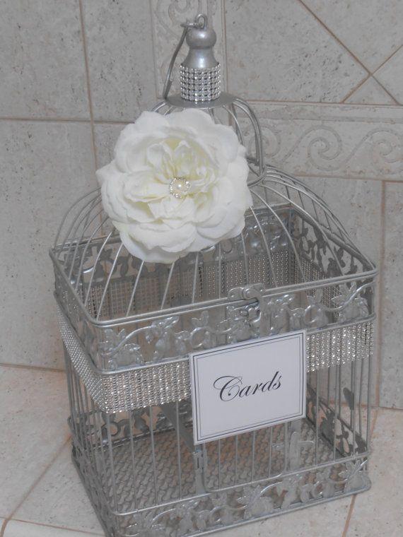 Large Silver Wedding Birdcage Card Holder / Wedding by ThoseDays