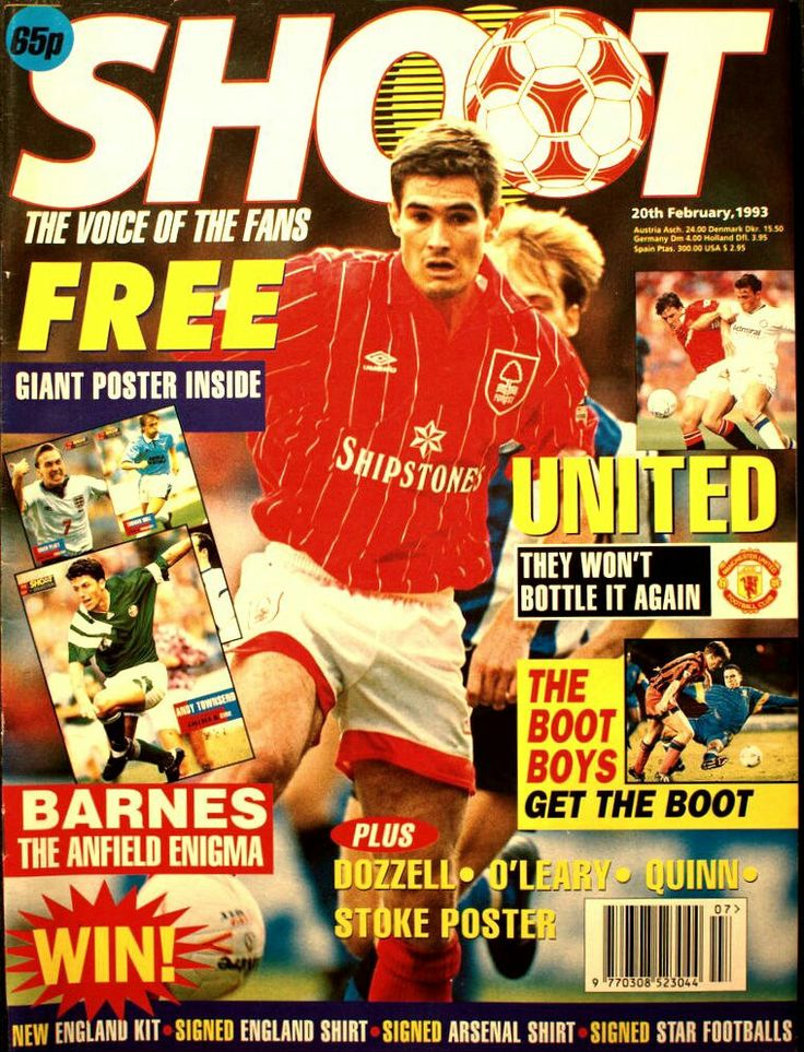 Shoot! magazine in Feb 1993 featuring Nigel Clough of Nottingham Forest on the cover.