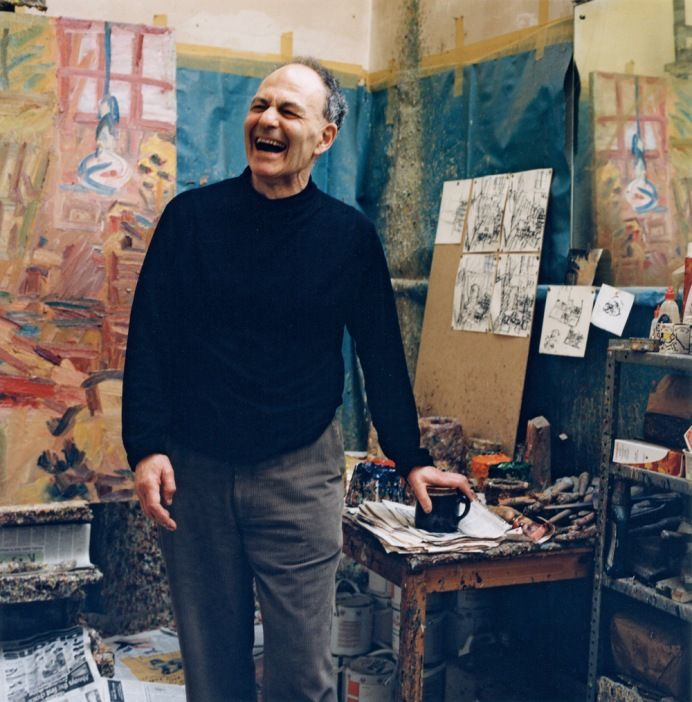 Frank Auerbach (British, b. 1931) in his London artist studio #workspace, 2001, photographed by Kevin Davies