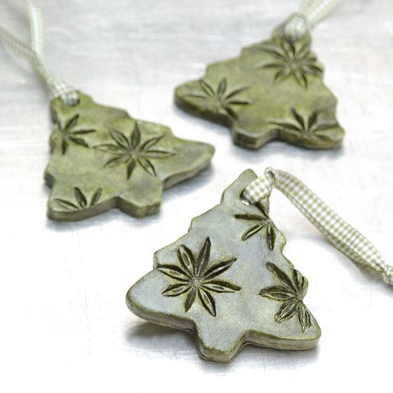 Ceramic Ornament with Star Anise Impressions Christmas Holiday Decoration Evergreen Tree - Set of 3