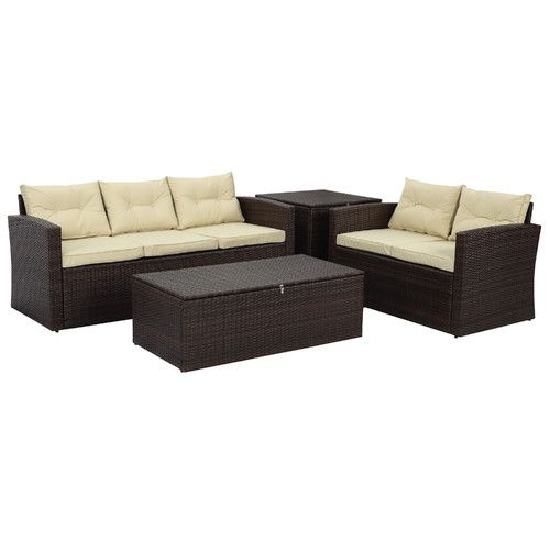 The-Hom Rio 4 Piece Deep Seating Group with Beige Cushions