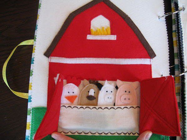 Quiet book page with animal finger puppets. Whenever silence is required, keep your child entertained with your own fun and creative quiet book.