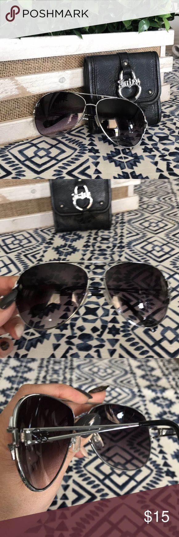 Jessica Simpson Sunglasses Jessica Simpson Aviator sunglasses in silver with black lenses.  These have been used but have a lot of life left Jessica Simpson Accessories Sunglasses