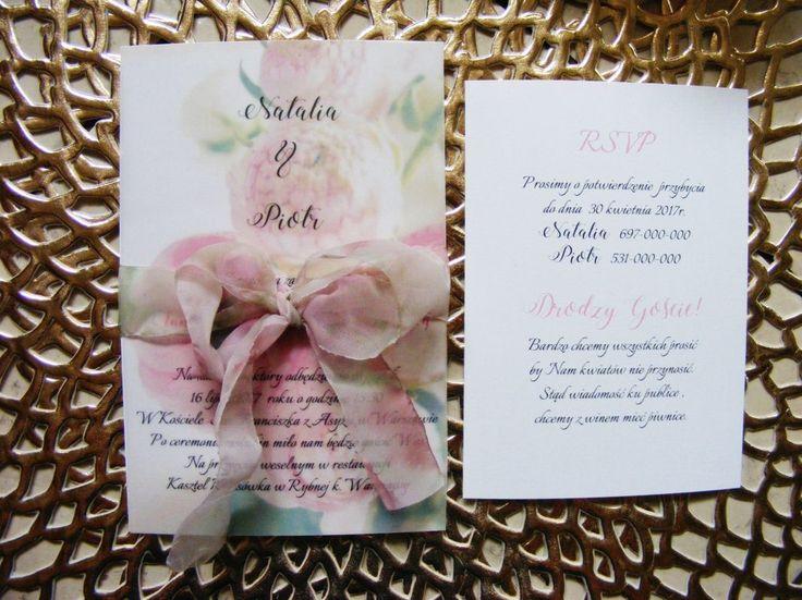 Zaproszenia ślubne kwiatowe, peonie, anemony nowość 2017 W4