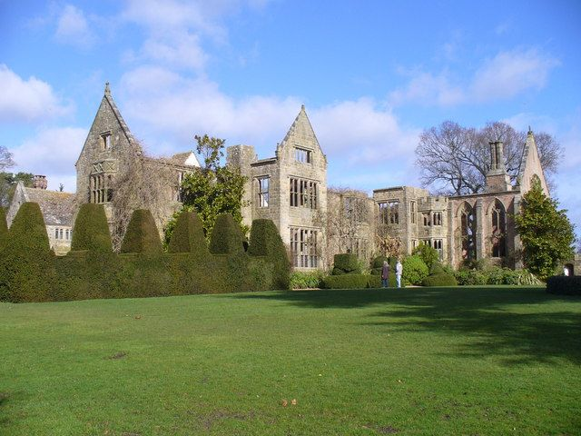 Nymans. The southern frontage today. The ruined house remains a garden feature.
