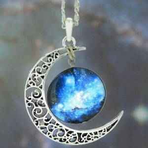 Cosmic Moon Blue Galaxy Necklace