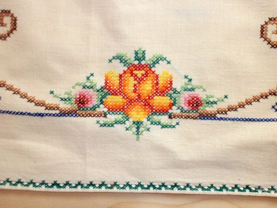 Vintage embroidered tablecloth cross stitched Scandinavian