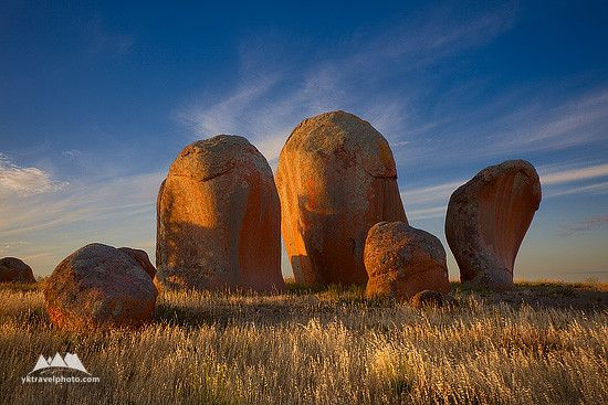 Murphy's Haystacks is a small group of granite boulders and pillars located on the top of the hill in the western part of the Eyre Peninsula (South Australia), not far from the Streaky Bay.