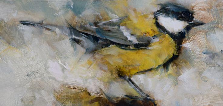 Great titmouse, oil on panel, Dorus Brekelmans 2017