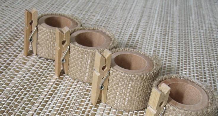 Place Card Holder Napkin Rings with Burlap - set of four