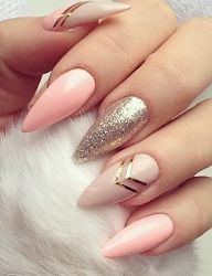 nails designs | stilettos | pink | silver glitter sparkle | stripes | elegant | simple