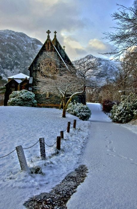 winter - snow. St Mary and St Finnan Church situated above Loch Shiel in Glenfinnan Scotland.