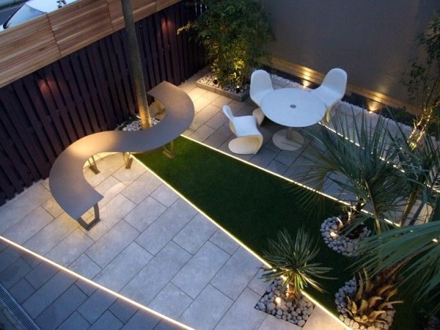 MyLandscapes LTD, LED light strips in a Highbury courtyard