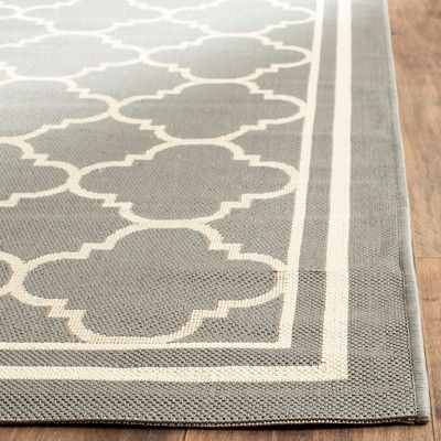 Renee Rectangle 4' X 5'7 Outdoor Patio Rug - Anthracite / Beige - Safavieh, Black