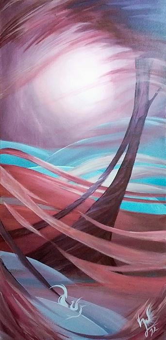 '21.12.2012' Der Tag des Unterganges - Ein #Acryl Gemälde von Christina Busse | www.christinabusse.de | #Leinwand | 30x60cm | Entstehungsjahr 2012 | #Sturm #Tornado