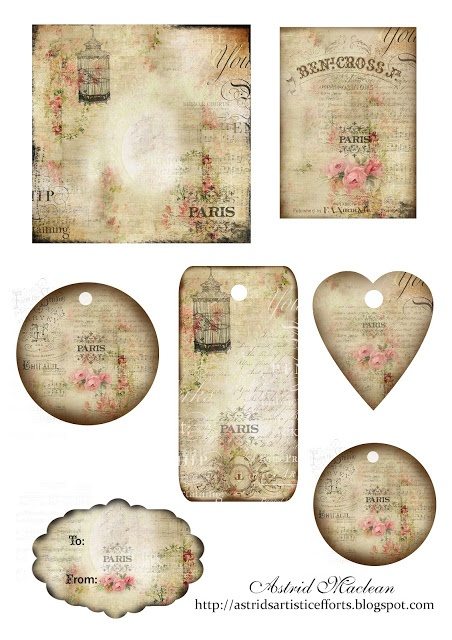 Free Printable Vintage French Gift Tags Scrapbook Ideas
