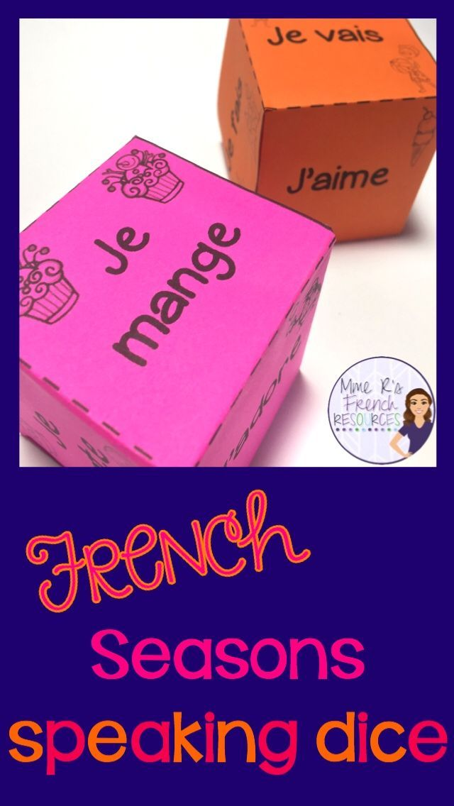 These 4 speaking dice are the perfect way to get your beginning French students speaking using their seasonal vocabulary and basic verbs in the first person. Simply cut out the dice, fold them on the dotted lines, and tape them together to make the dice. Each die has 6 sentence starters and the students' task is to complete the sentences logically. This can easily be made into a writing activity by using the provided writing pages and is great for centres. Click here to check it out.