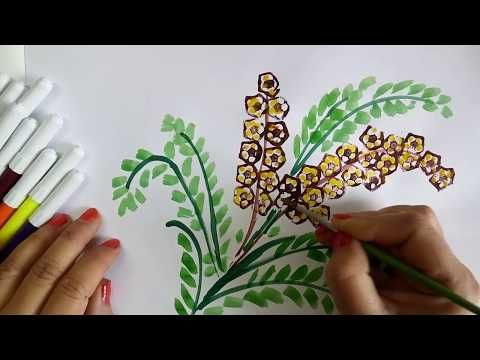 Vegetable craft ideas for kids: Flower drawing with Ladies Finger prints, learning video for kids - YouTube