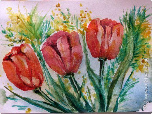 Скоро 8 марта, предлагаю нарисовать тюльпаны в двух вариантах. Я обещала детям, что будет что-нибудь необычное в технике рисования, пришлось выполнять обещание. фото 52