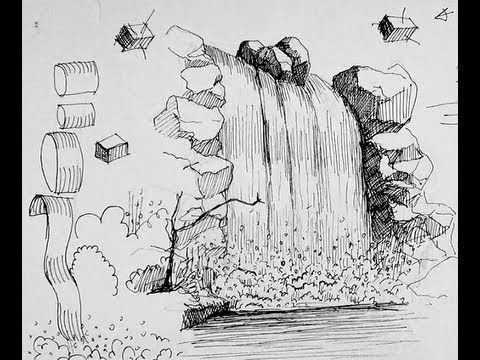 Pen & Ink Drawing Tutorials | How to draw a waterfall