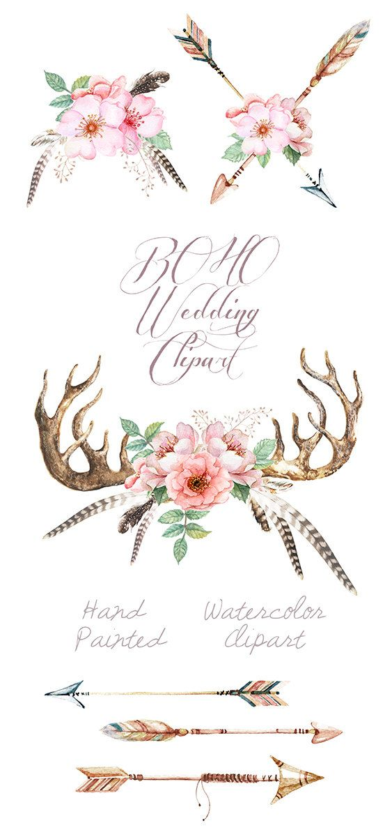 Watercolor Wedding Clip Art Antlers Stag horns от ReachDreams