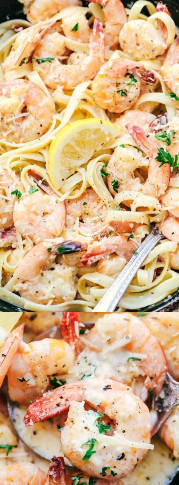 This Creamy Parmesan Garlic Shrimp Pasta from The Recipe Critic is the perfect quick and easy meal for busy nights! Juicy shrimp get coated in the very best creamy garlic sauce and taste wonderful tossed with fresh pasta!