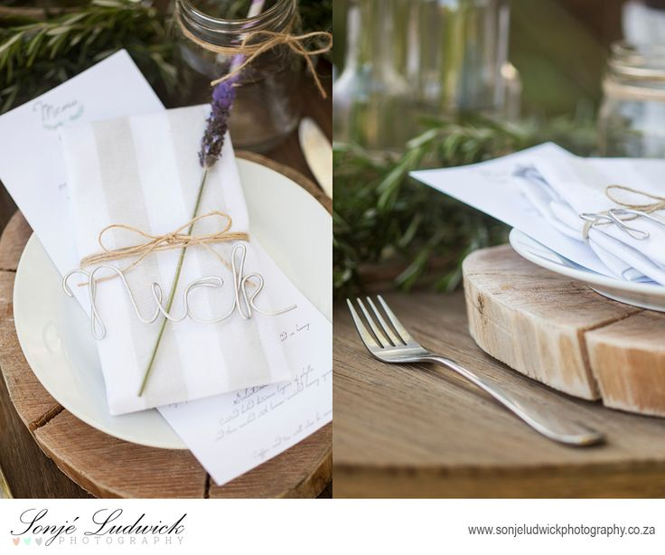 Table setting for a Greek wedding.  Silver wire place names.