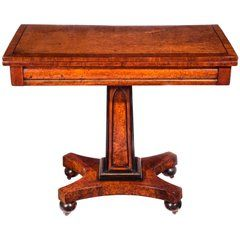 Regency Colonial Amboyna, Tulipwood, Ebony and Brass Mounted Gothic Games Table