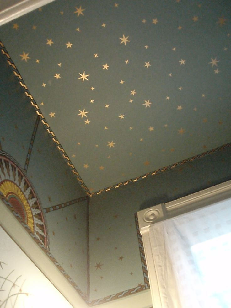 Bedrooms ceiling...maybe not as far down the wall...Metallic stars on ceiling...looks great with a darker paint color backdrop!