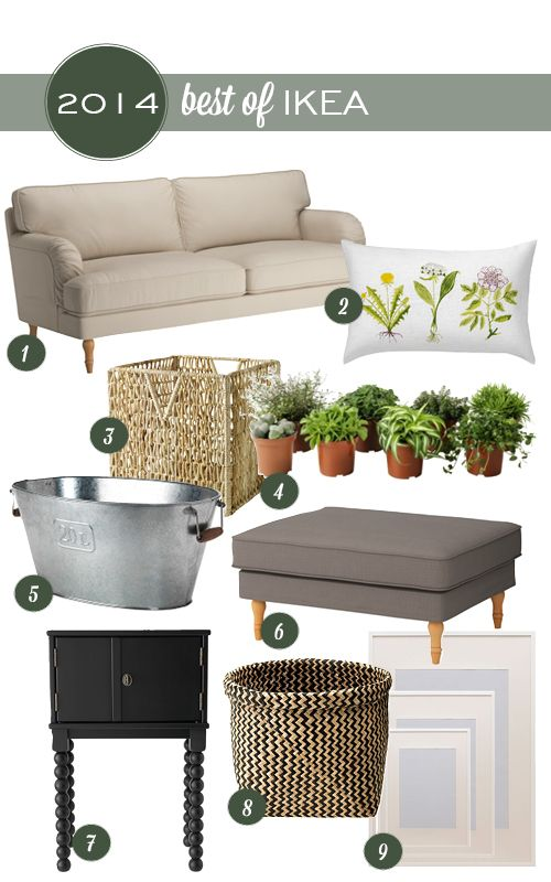 Best Things From IKEA 2014 -- Planter, side table, sofa, matching ottoman.