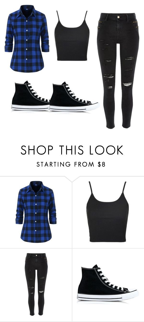 """Normal"" by jenna19monzela ❤ liked on Polyvore featuring Topshop, River Island and Converse"